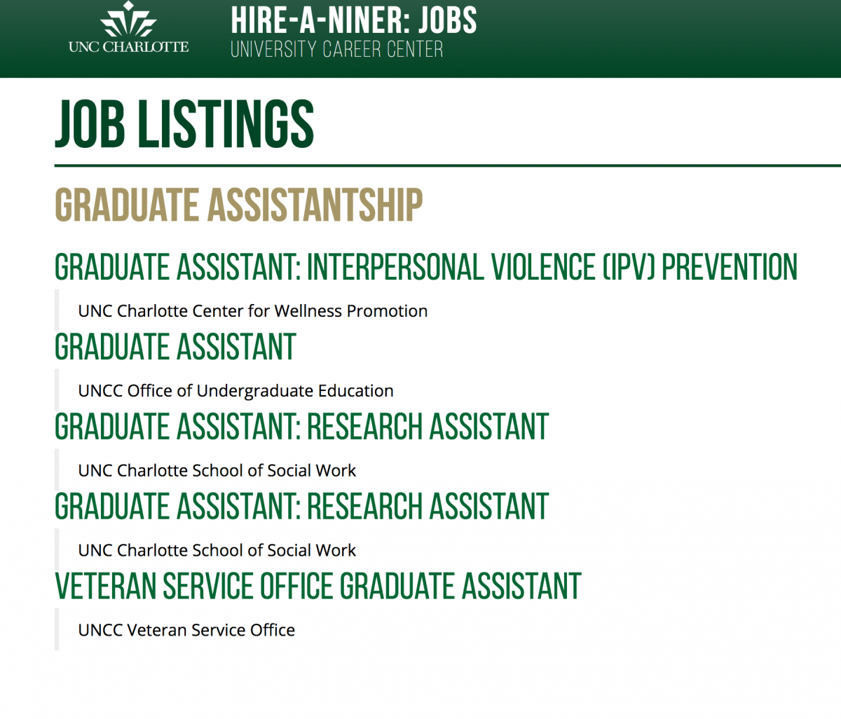 Search Hire-A-Niner for Assistantships